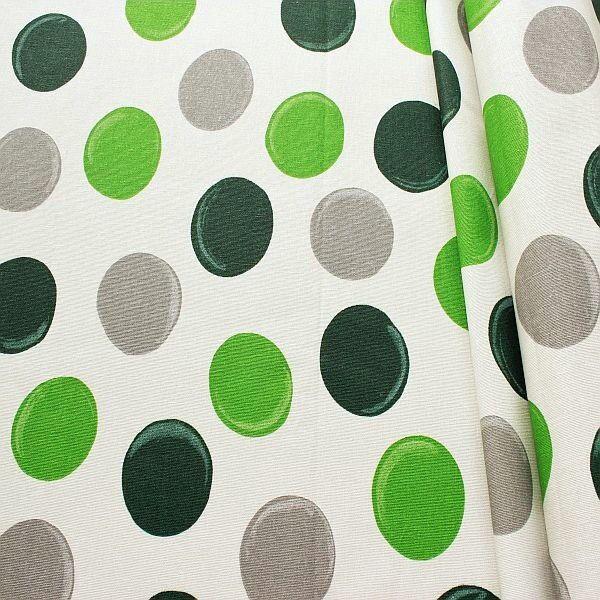 Baumwollstoff beschichtet Punkte XL Grau-Grün