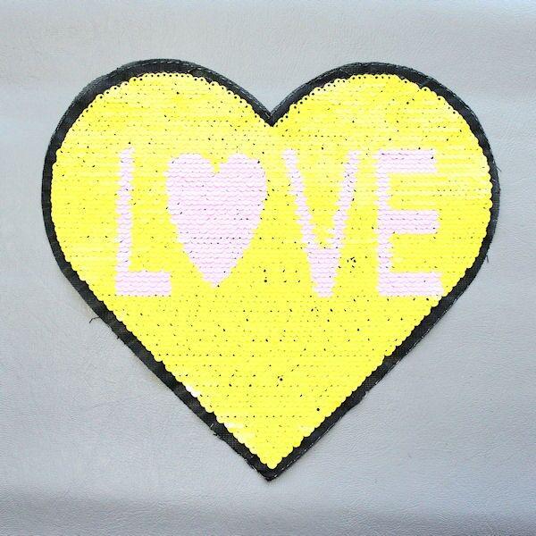 Wendepailletten Patch Herz-Love Gelb-Weiss