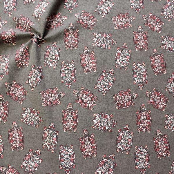 Baumwoll Sweatshirt French Terry Ethno Turtles Grau
