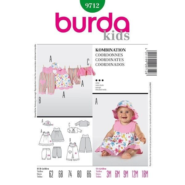 Overall, Kleid, Hose, Jacke, Hut, Gr. 62 - 86, Schnittmuster Burda 9712