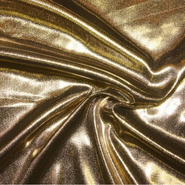 Glanz Jersey Stoff Farbe Gold