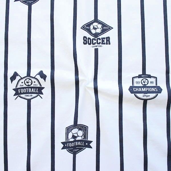 "Baumwoll Stretch Jersey ""Soccer"" Farbe Weiss"