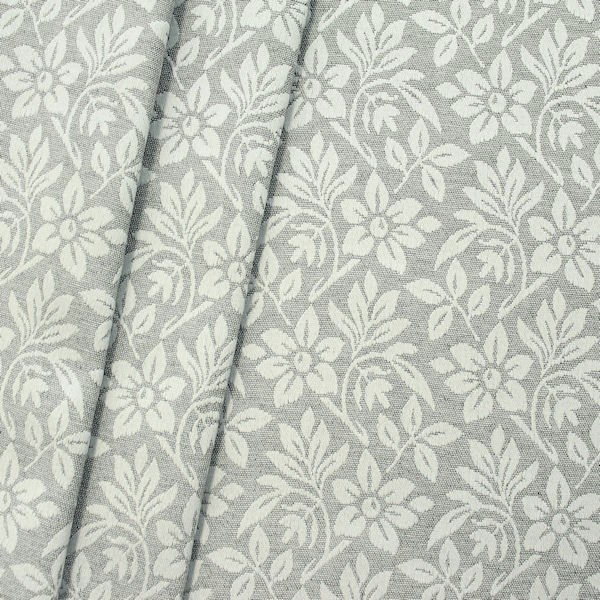 Jacquard Dekostoff Silver Flower Hell-Grau