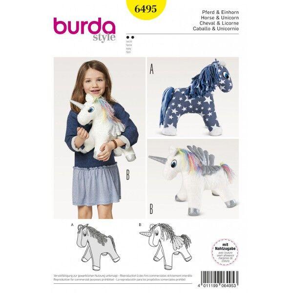 Burda Schnittmuster 6495 Kuscheltier Pferd und Einhorn