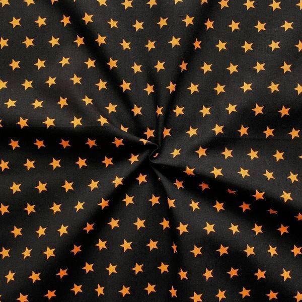 100% Baumwolle Popeline Sterne mittel Schwarz Orange