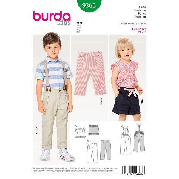 Burda 9365 Schnittmuster für Buntfaltenhose, Hose mit Hosenträgern und Shorts