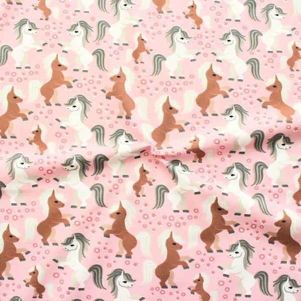 "Baumwoll Stretch Jersey ""Ponys"" Farbe Rosa"