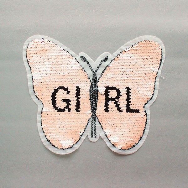 Wendepailletten Patch Schmetterling-Girl Rosé-Silber