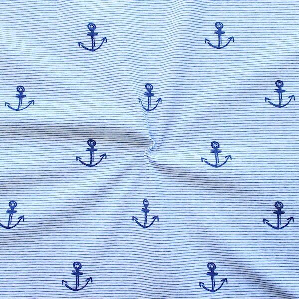 Baumwoll Stretch Jersey Anker & Streifen Hell-Blau-Weiss