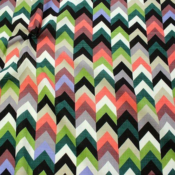 Baumwolle Viskose Modestoff Zick Zack Reihen Multicolor-Lachs