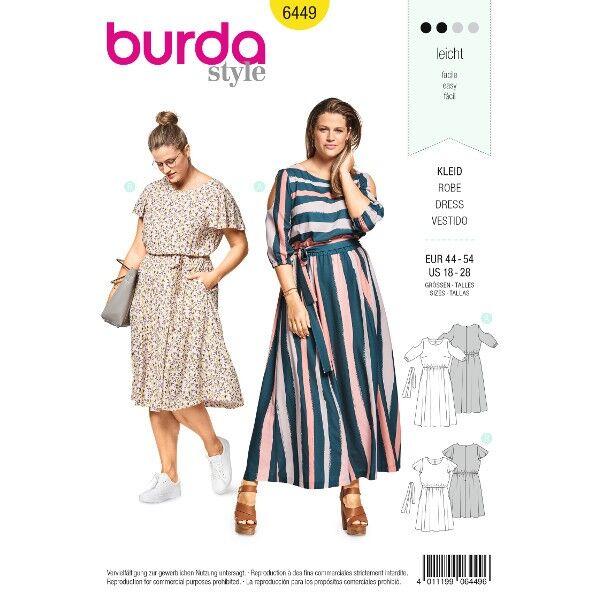 Sommerkleid mit Gummidurchzug – Cut-Out-Ärmel – Flügelärmel, Gr. 44-54, Schnittmuster Burda 6449