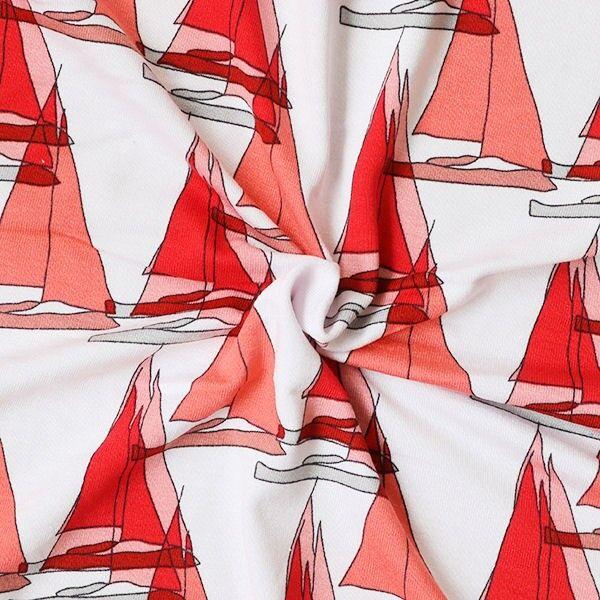 Viskose Stretch Jersey Segelboote Weiss-Rot