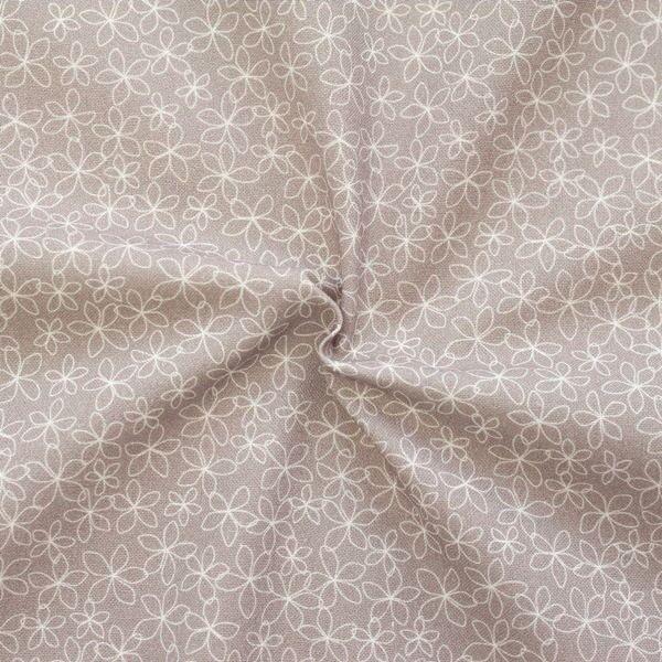 "100% Baumwollstoff ""Delicate Bloom"" Farbe Taupe"