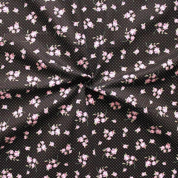 Baumwollstoff bedruckt Blumen und Punkte Schwarz