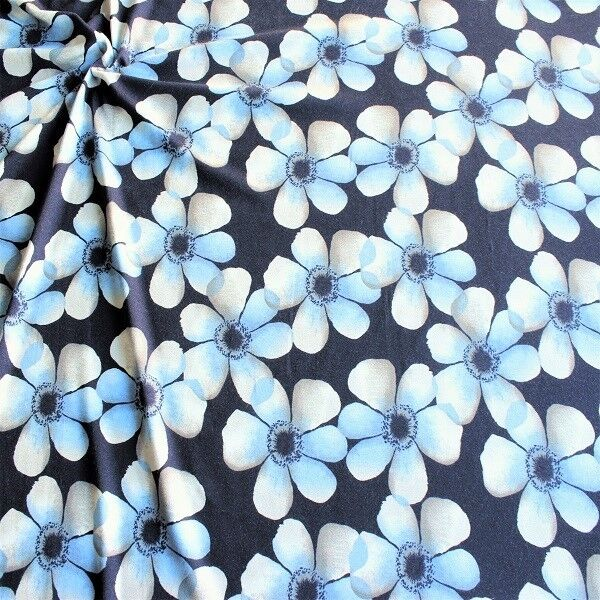 Viskose Stretch Jersey Blüten Blau