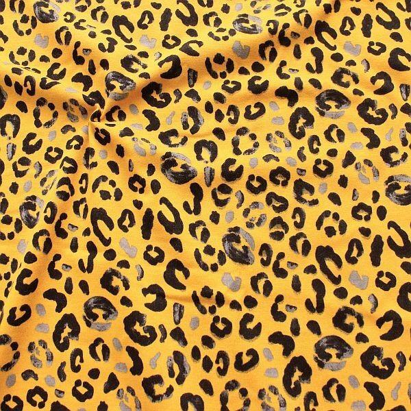 Sweatshirt Baumwollstoff French Terry Leopard Curry-Gelb
