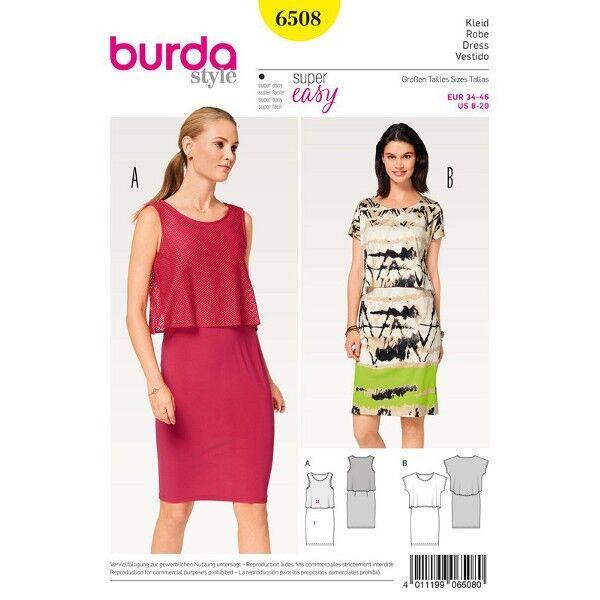 Kleid mit Überteil, Gr. 34 - 46, Schnittmuster Burda 6508
