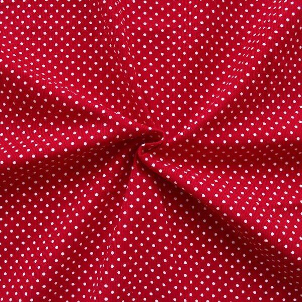 """Feincord Baumwollstoff """"Punkte Klein"""" Farbe Rot"""