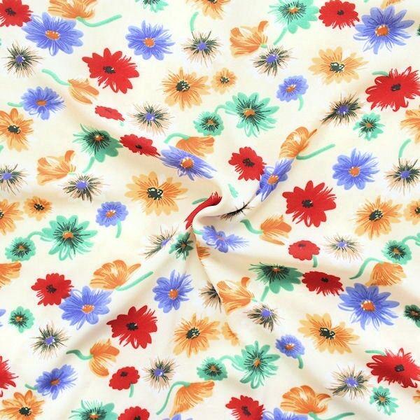 Crêpe Chiffon Blütenzauber Creme-Weiss