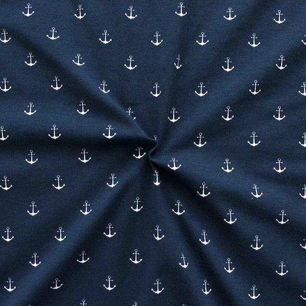 """Baumwoll Stretch Jersey """"Anker mittel 2"""" Farbe Navy-Blau"""
