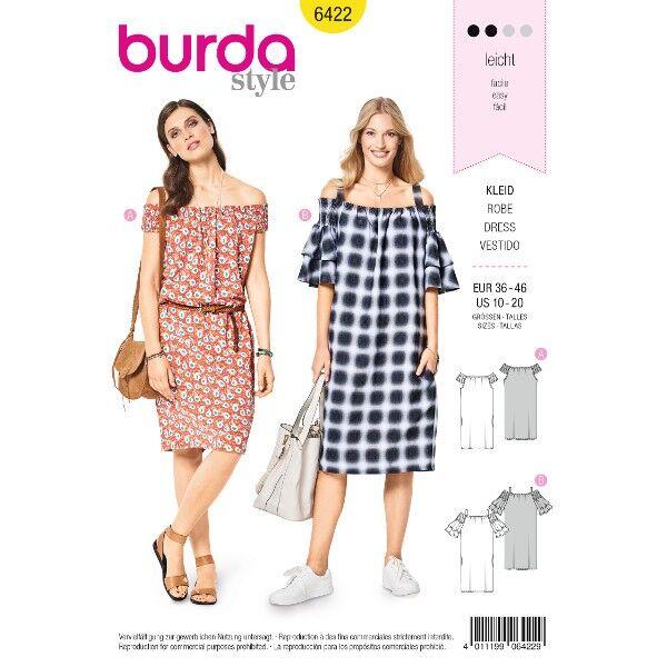 Junges Kleid – Carmenausschnitt mit Gummismok, Gr. 36 - 46, Schnittmuster Burda 6422