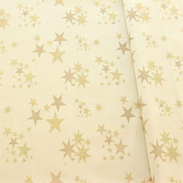 Jacquard Dekostoff Lurex Sterne Mix Elfenbein-Gold
