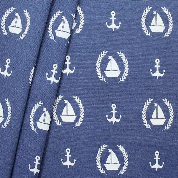"Dekostoff ""Anker & Boote 2"" Farbe Blau-Weiss"