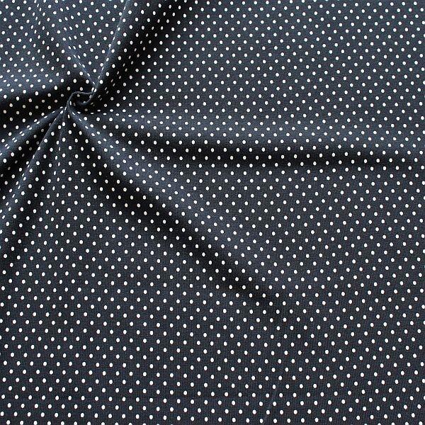 Baumwoll Stretch Jersey Punkte Klein Dunkel-Blau