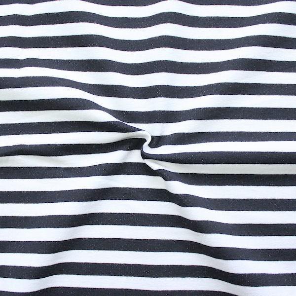 """Sweatshirt Baumwollstoff French Terry """"Classic Stripes"""" Farbe Weiss Dunkel-Blau"""