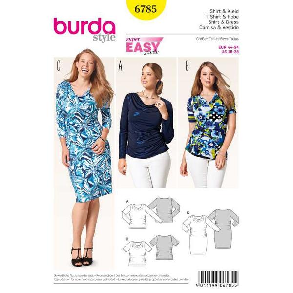 Shirt, Kleid – seitl. Raffung – Wasserfall-Ausschnitt, Gr. 44 - 54, Schnittmuster Burda 6785
