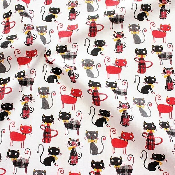 Baumwollstoff Cats Weiss-Grau