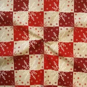 """Dekostoff """"Schneeflocken / Kristalle"""" Farbe Rot"""