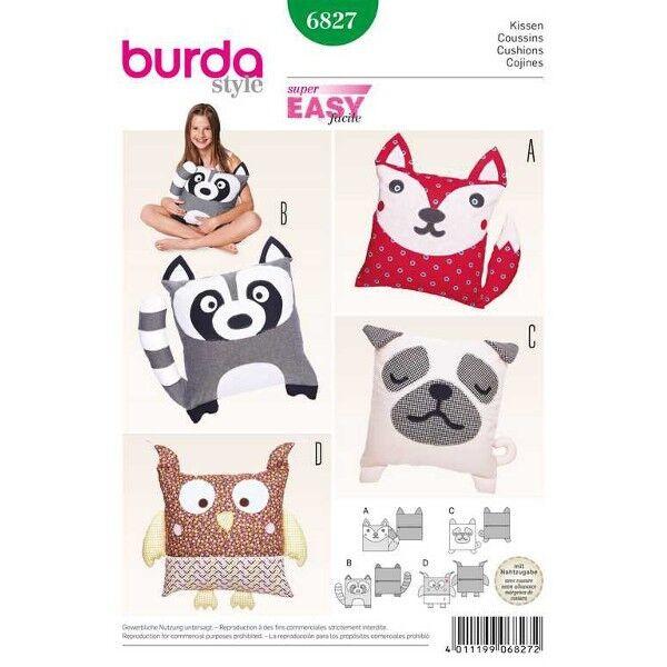 Kissen – Tiermotive: Hund, Katze, Eule, Waschbär, Schnittmuster Burda 6827