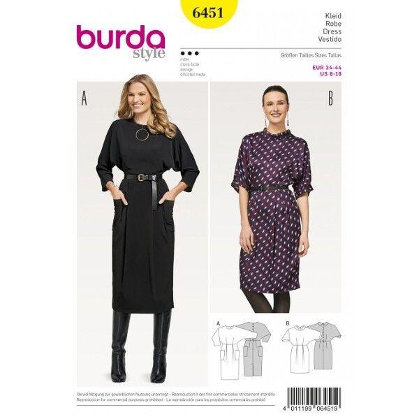 Kleid mit angeschnittenen Ärmeln – Knopfverschluss im Rücken, Gr. 34 - 44, Schnittmuster Burda 6451