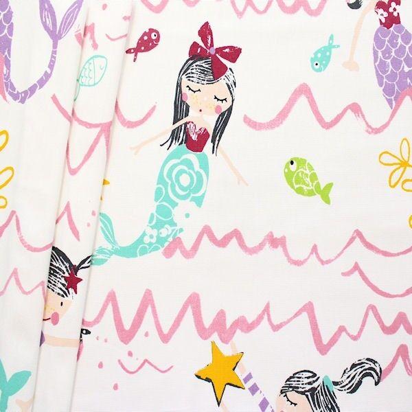 Dekostoff Halbpanama Mermaid Creme-Weiss Rosa