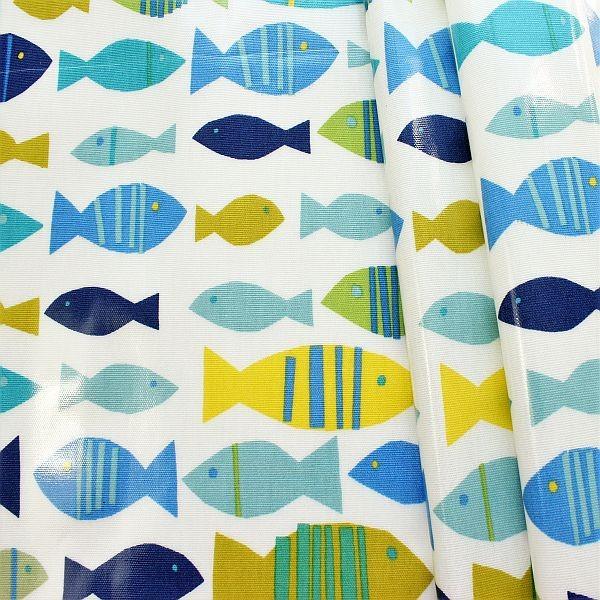Design Dekostoff beschichtet Finn Ecru-Blau
