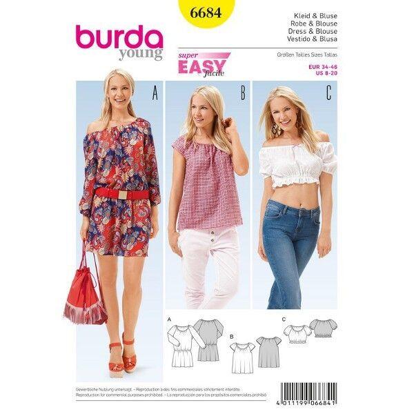 Kleid – Bluse – Kurzbluse – Gummidurchzug, Gr. 34 - 46, Schnittmuster Burda 6684