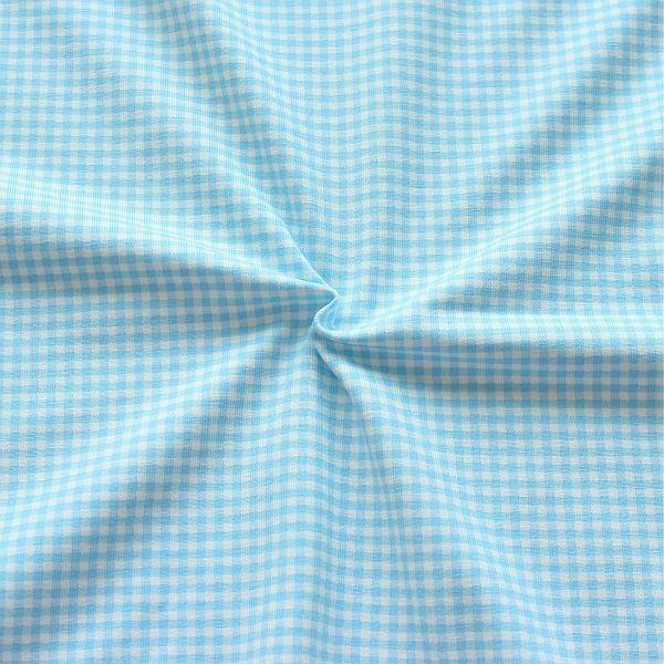Baumwoll Stretch Jersey Vichy Karo klein Hell-Blau Weiss
