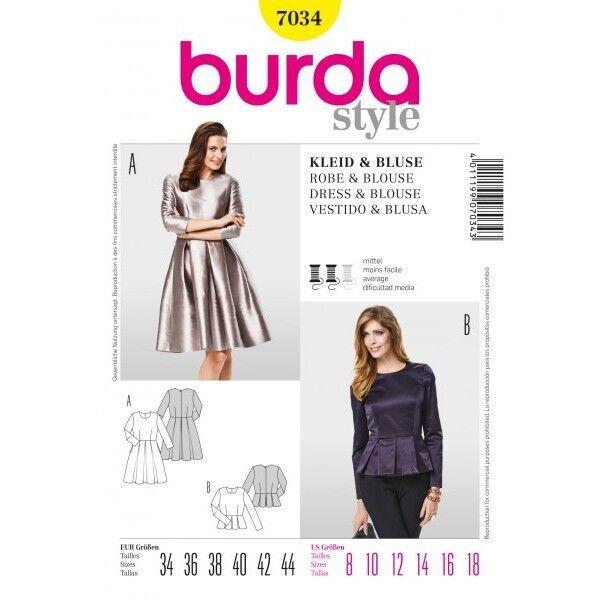 Kleid, Bluse mit Kellerfalte, Gr. 34 - 44, Schnittmuster Burda 7034