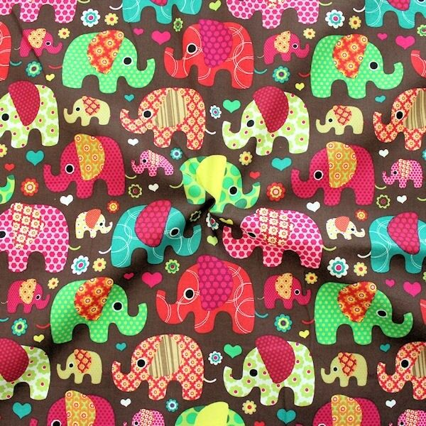 "100% Baumwolle Popeline ""Patchwork Elephants 3"" Farbe Braun"