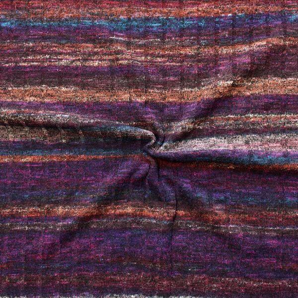 Strickstoff gerippt Fashion Stripes Melange Lila-Violett Multicolor
