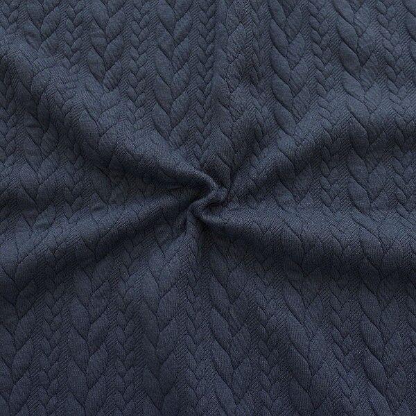 "Jacquard Strick Jersey ""Zopfmuster"" Farbe Dunkel-Blau"