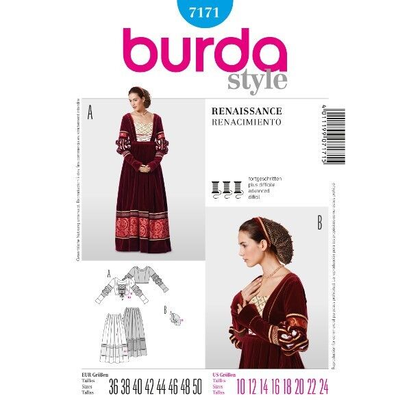 Historisches Kleid, Renaissance, Gr. 36 - 50, Schnittmuster Burda 7171