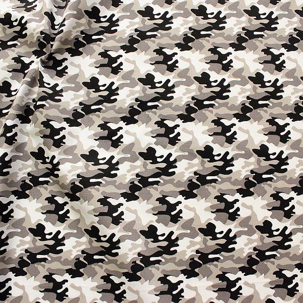 Baumwolle Popeline Camouflage Grau