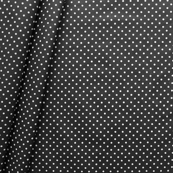 Baumwollstoff beschichtet Punkte klein Schwarz