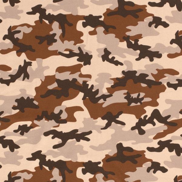 Baumwoll Stretch Jersey Camouflage Beige-Braun