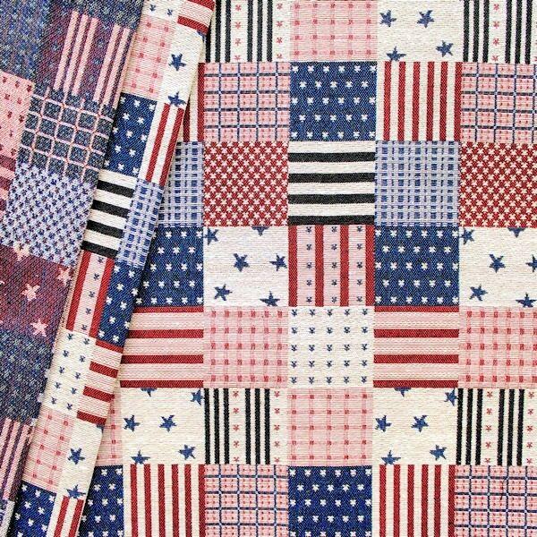 "Jacquard Dekostoff ""Patchwork Stars & Stripes"" Farbe Blau-Rot-Beige"