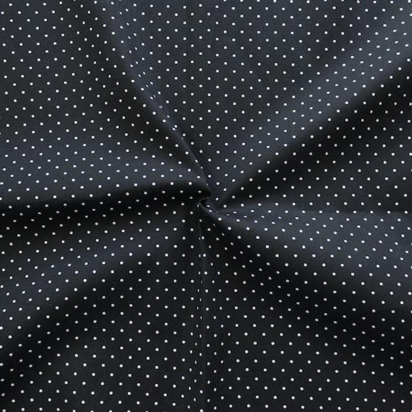 Schwarzer Stretch-Baumwollstoff Popeline mit weißen Punkten