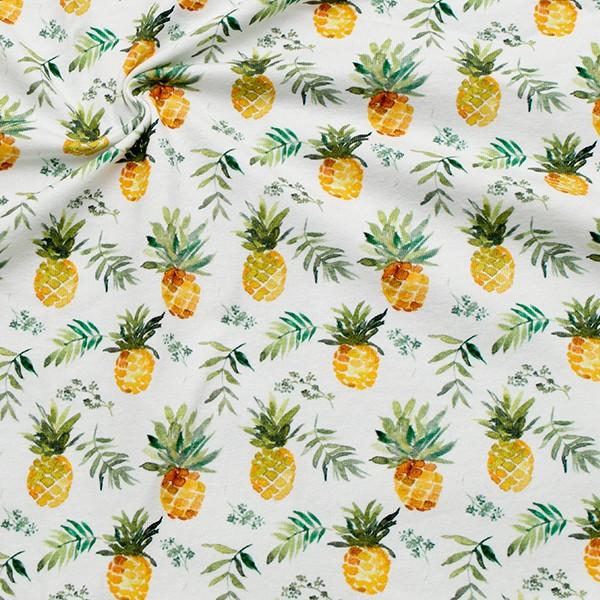Baumwoll Stretch Jersey Ananas Weiss