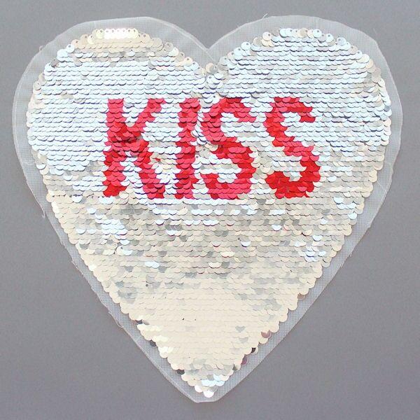 Wendepailletten Patch Herz-Kiss Silber-Rot